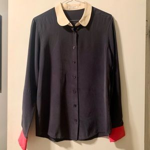 Navy Blue Equipment SILK Blouse size small
